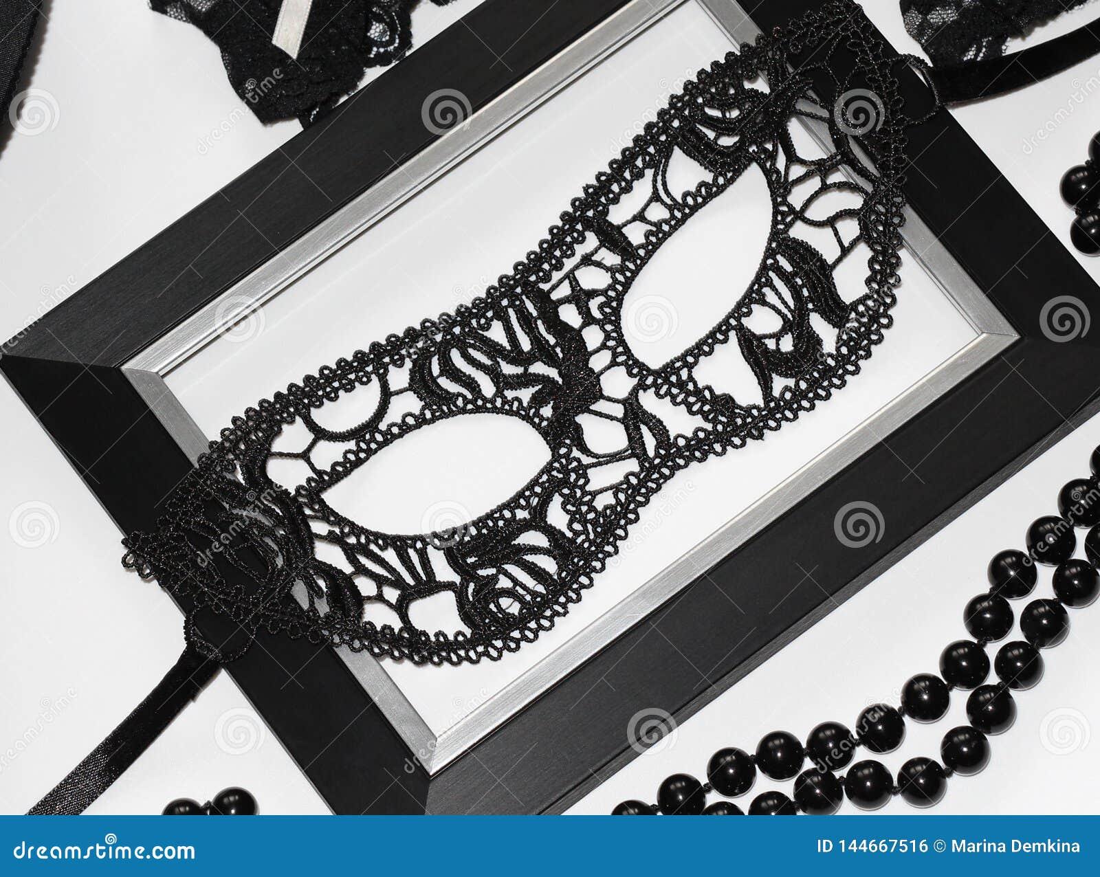Czarna seksowna koronki maska dla kobiet Mieszkanie nieatutowy