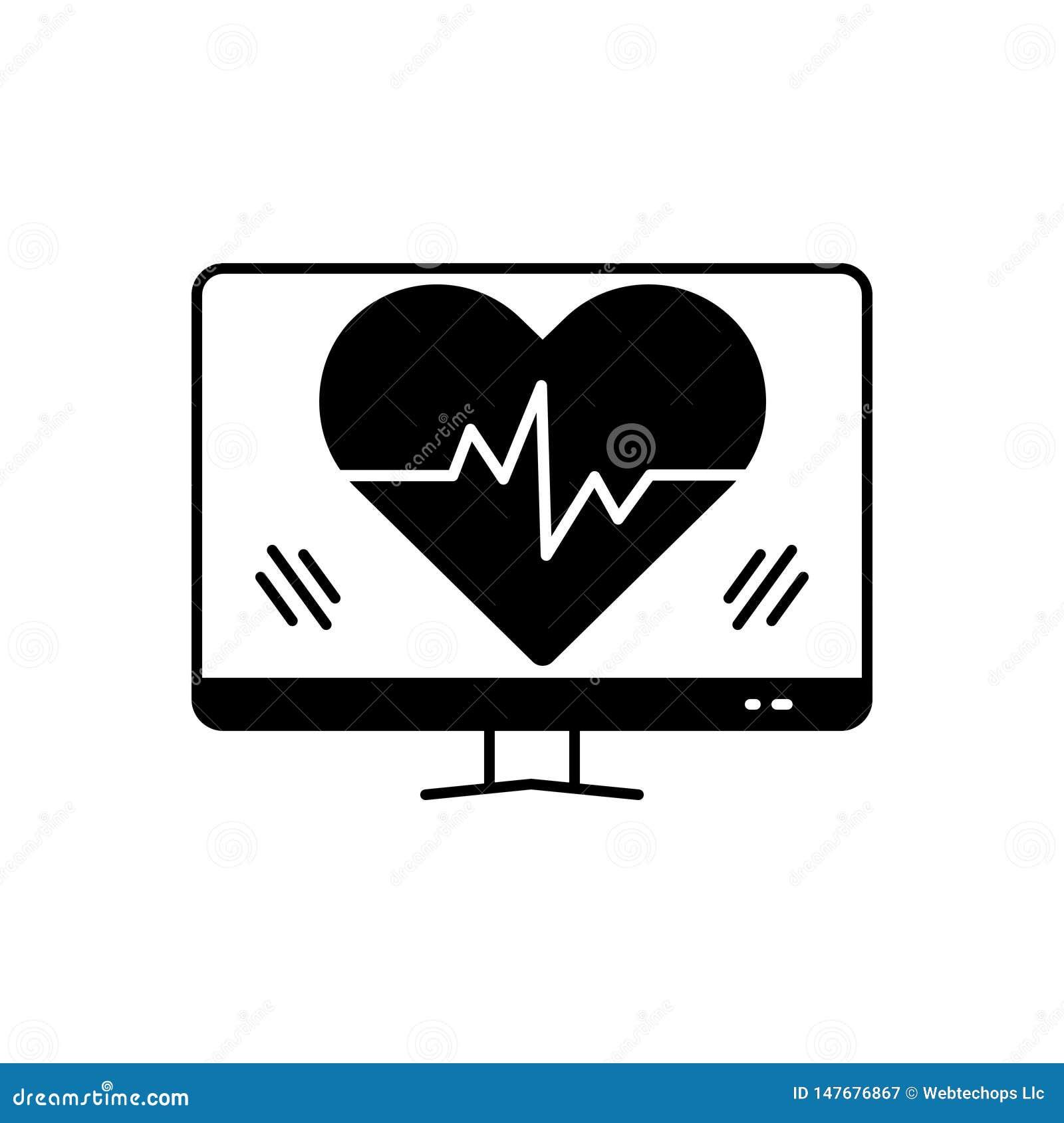 Czarna stała ikona dla bicie serca, opieki zdrowotnej i serca,