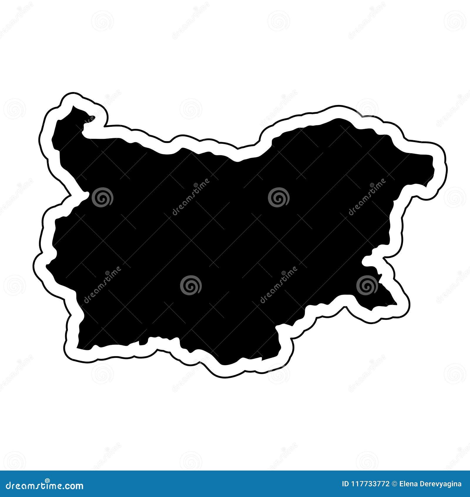 Czarna sylwetka kraj Bułgaria z konturową linią o