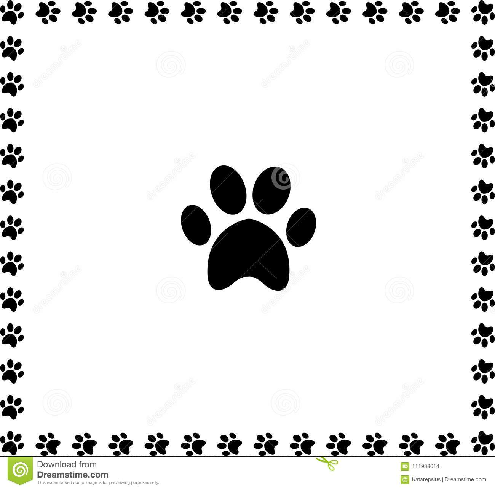 Czarna zwierzęca pawprint ikona obramiająca z łapa drukami graniczy