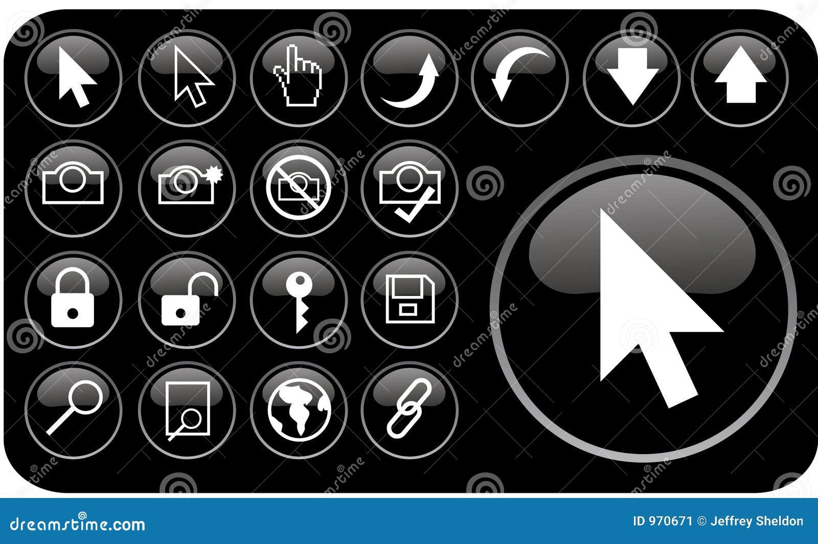 Czarne glansowane ikony part3