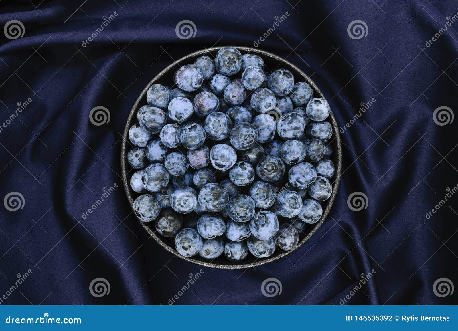 Czarne jagody na błękitnym tkaniny tle