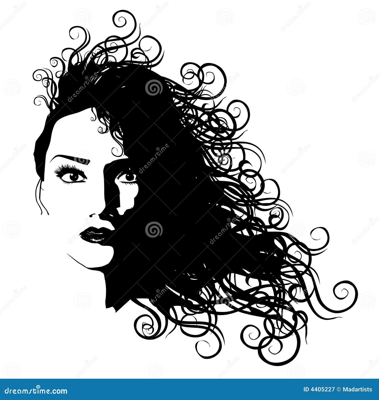Czarne włosy, długie konturu kobieta