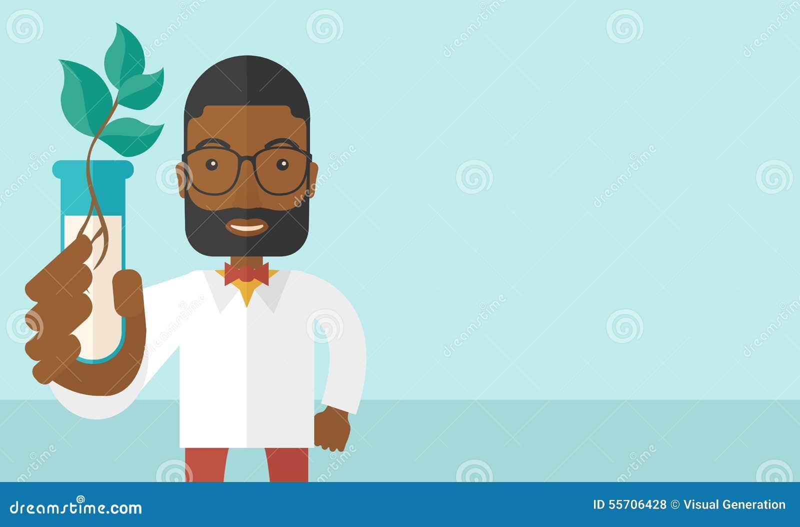Czarnego faceta chemik z tubki i eco liśćmi