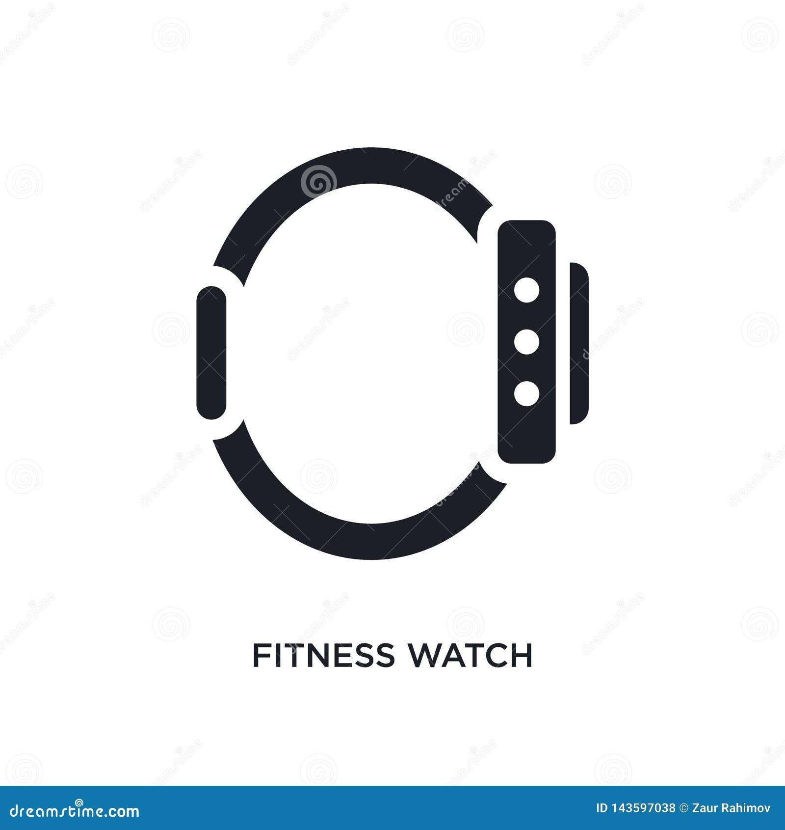 Czarnego sprawność fizyczna zegarka odosobniona wektorowa ikona prosta element ilustracja od gym i sprawno?ci fizycznej poj?cia w