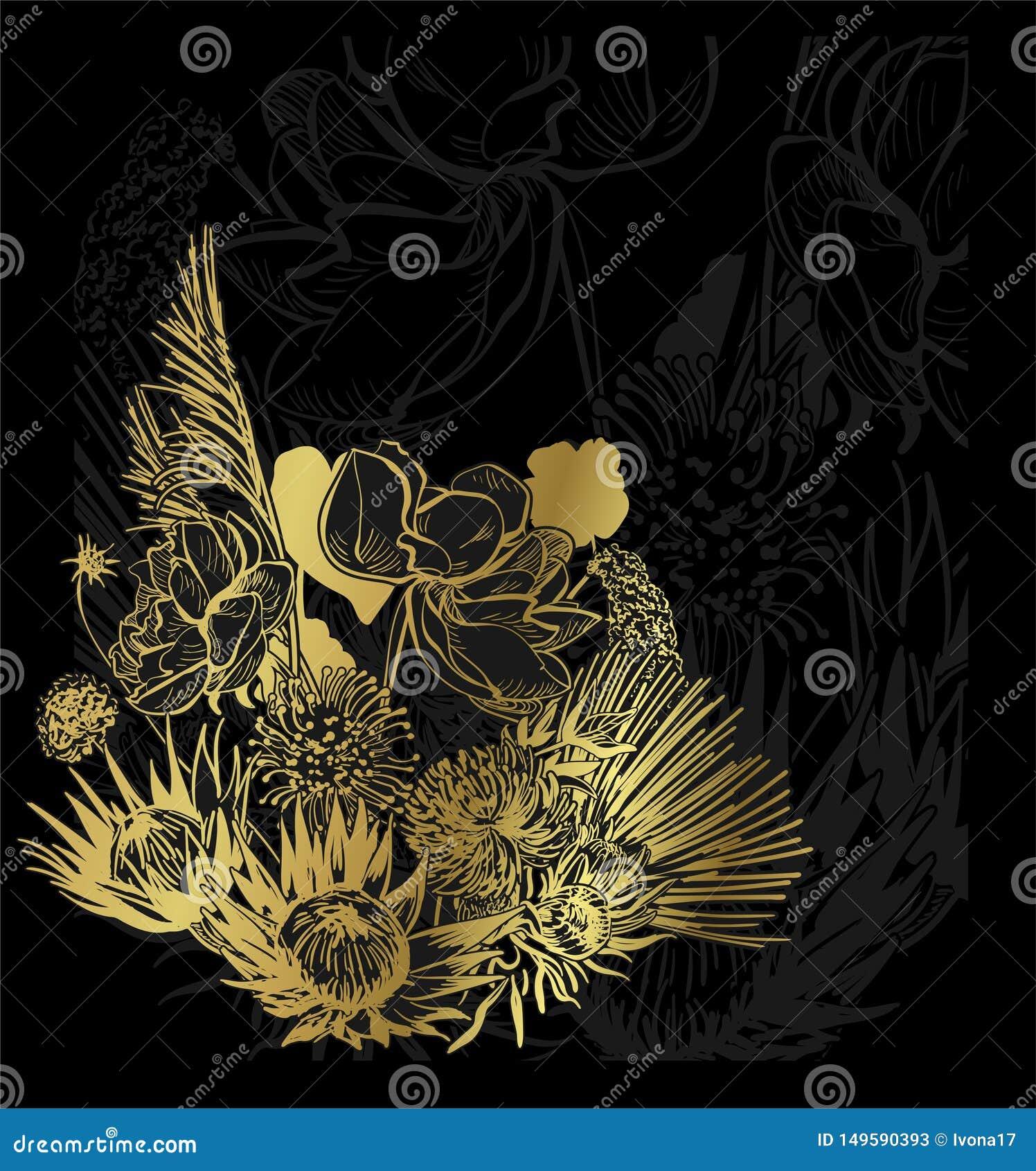 Czarnego złoto karty tła kwiecisty tło elegancki