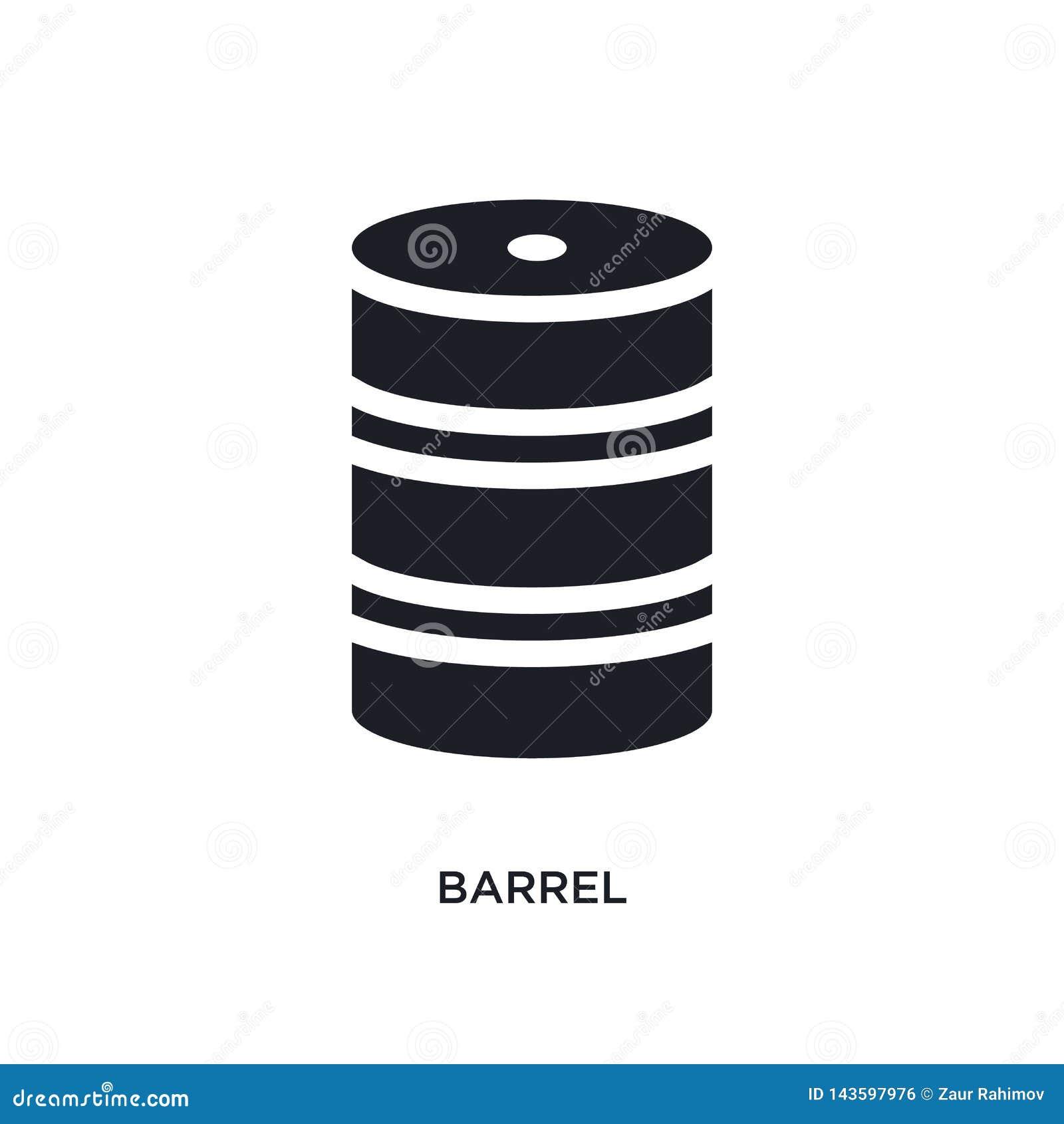 Czarnej baryłki odosobniona wektorowa ikona prosta element ilustracja od przemysłu pojęcia wektoru ikon lufowy editable logo symb