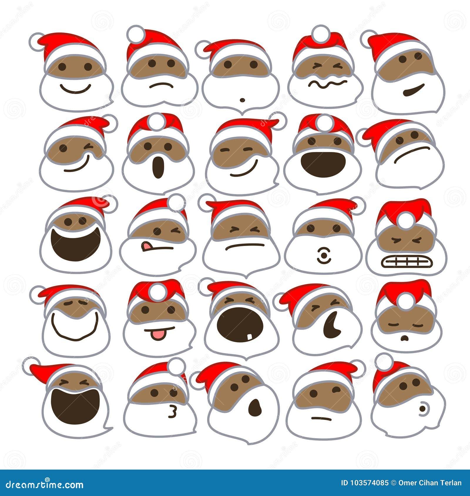 Czarni Święty Mikołaj bożych narodzeń Emoticons