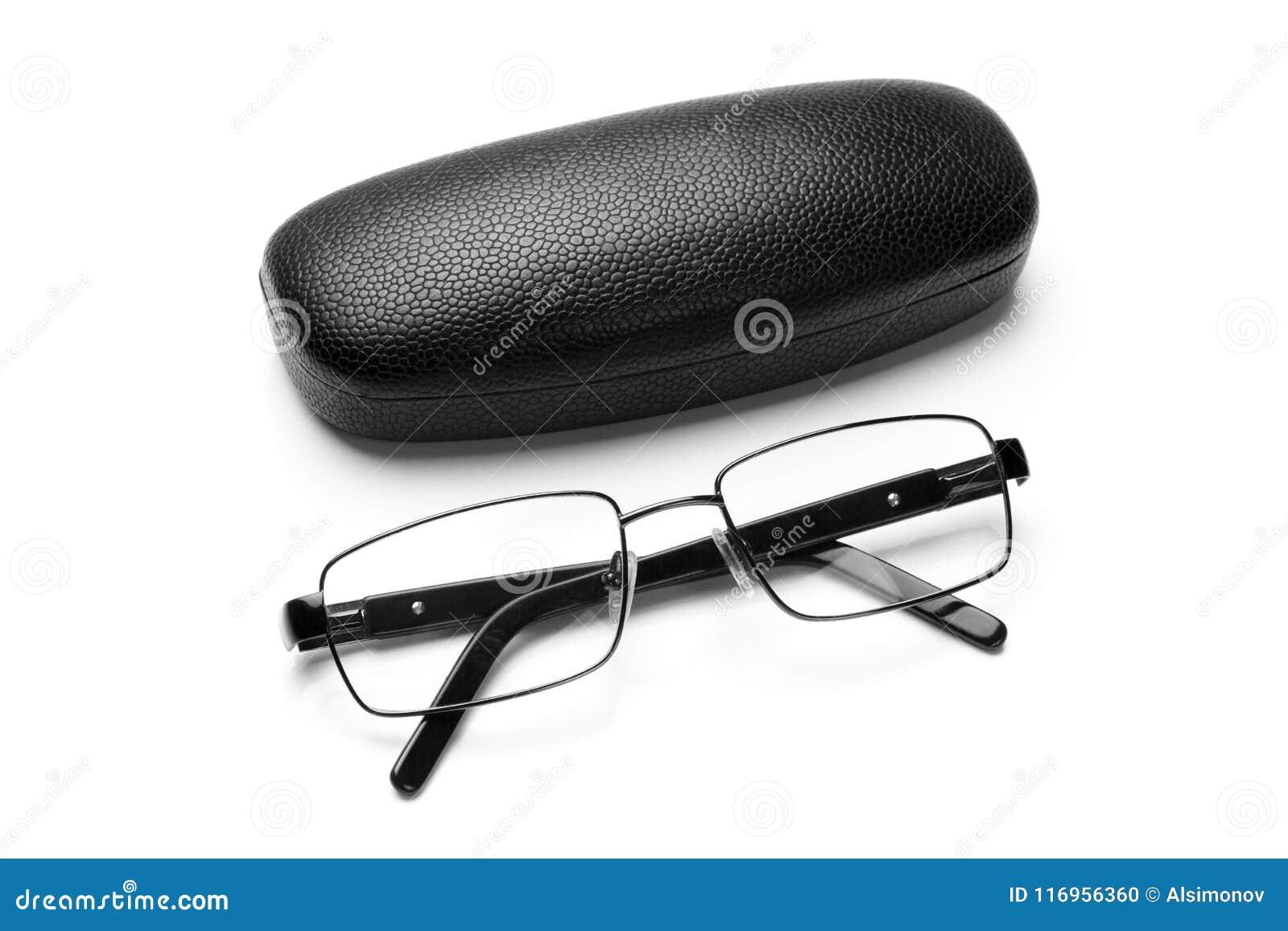 Czarni leatherette eyeglass eyeglasses w świetnej metal ramie i skrzynka