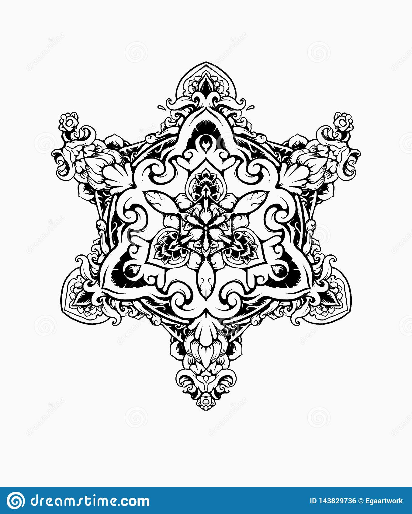 CZARNY BIAŁY ornamentu mandala