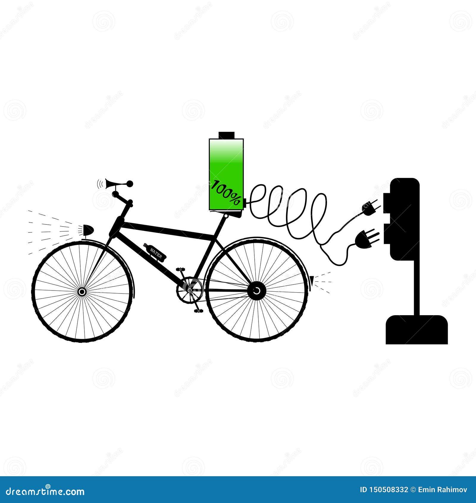 Czarny bicykl z dwa prymki i wyposażenia typem różna elektryczna ładowarka - wektorowa ilustracja