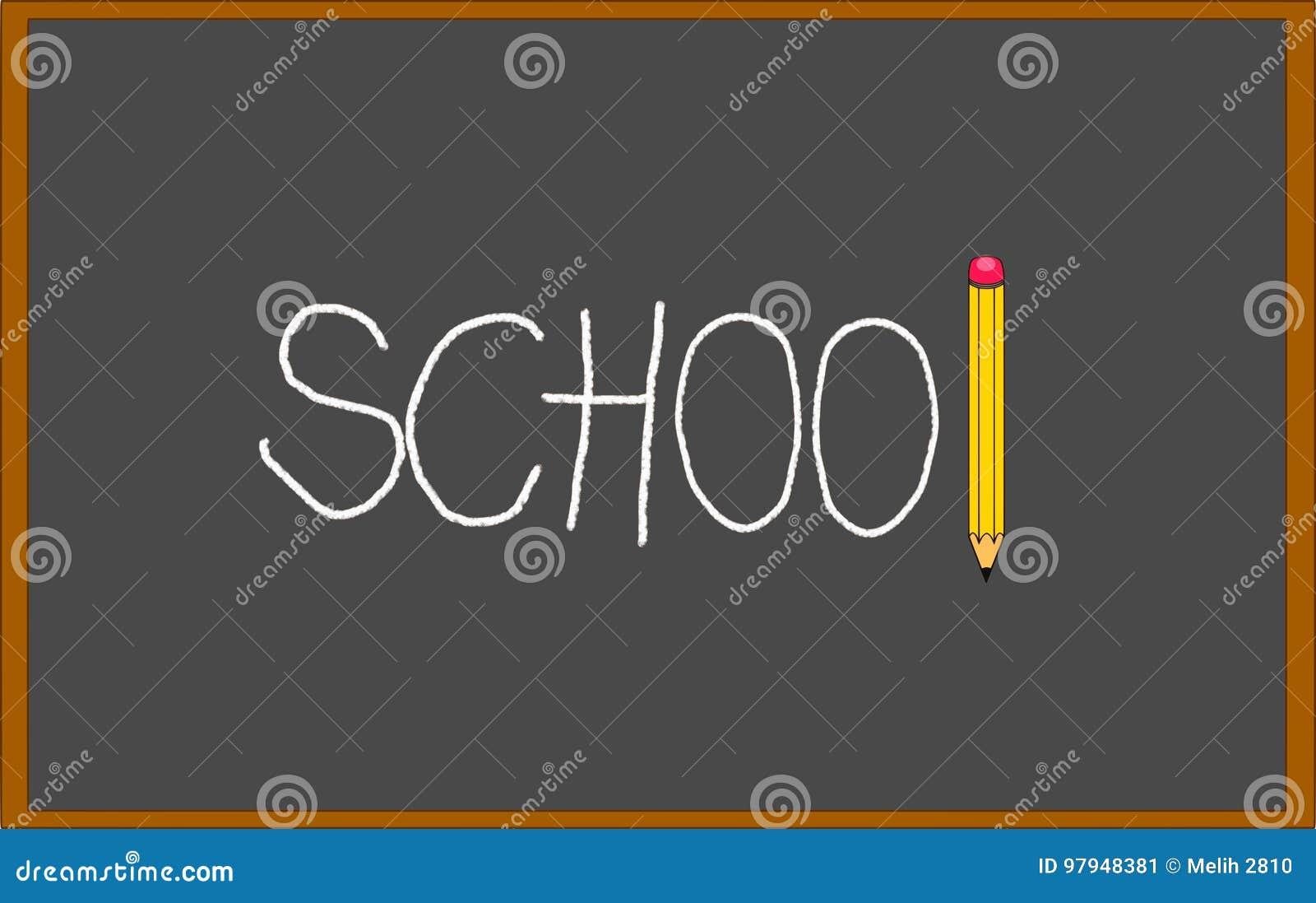 Czarny blackboard z szkołą pisać na nim z kredą i ołówkiem