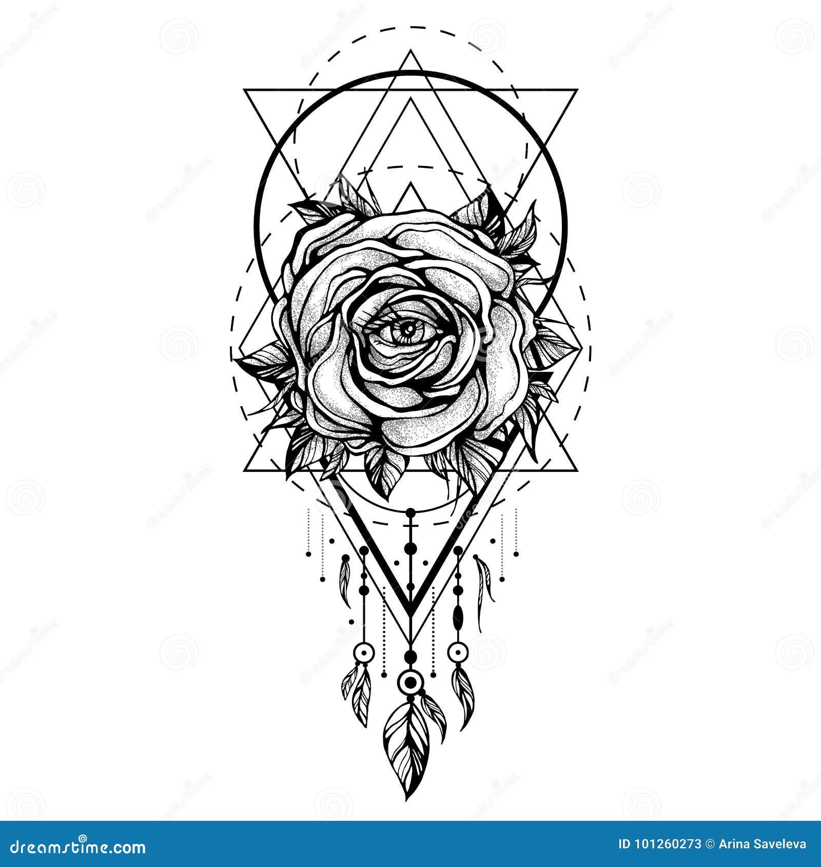 Czarny Chaplet Róża Kwiat Z Okiem Wzór Geometryczni