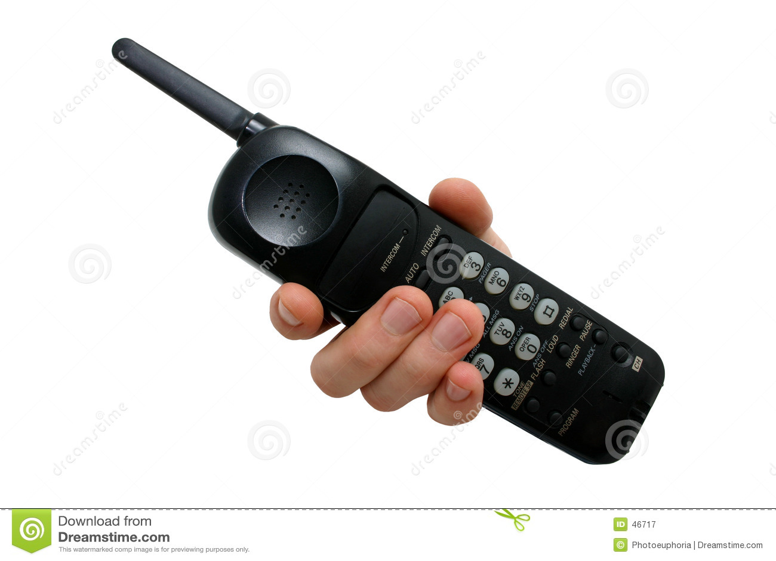 Czarny cordless ręka człowieka jest telefon