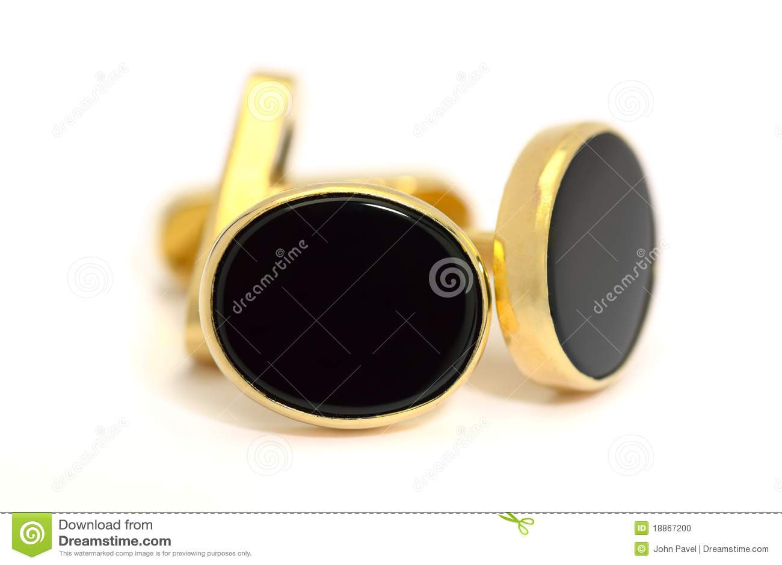 Czarny cufflinks formalny złocisty onyksowy owal