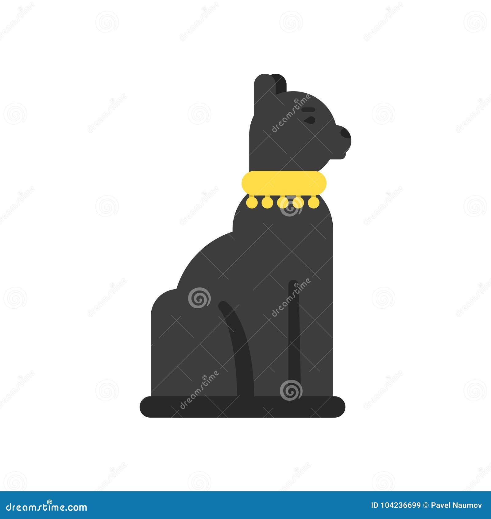 Czarny Egipski Kot Tradycyjna Egipska Kultura Wektoru Ilustracja