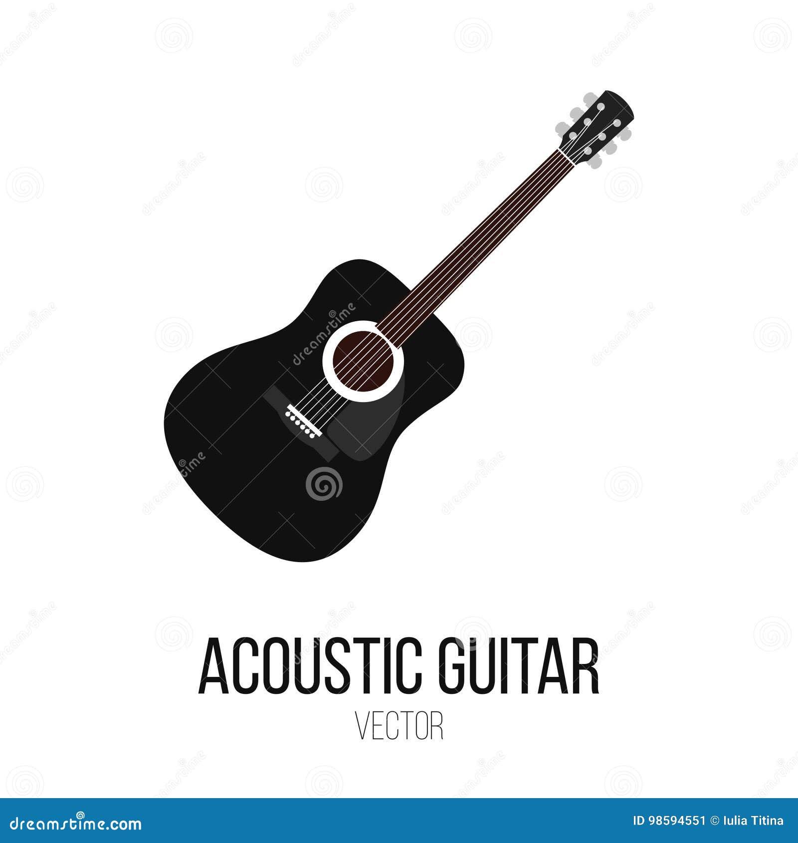 Czarny gitara akustyczna wektor Odizolowywa element