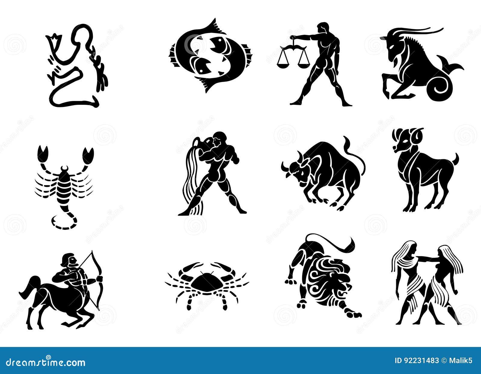 Czarny horoskopu ikon biel zodiak