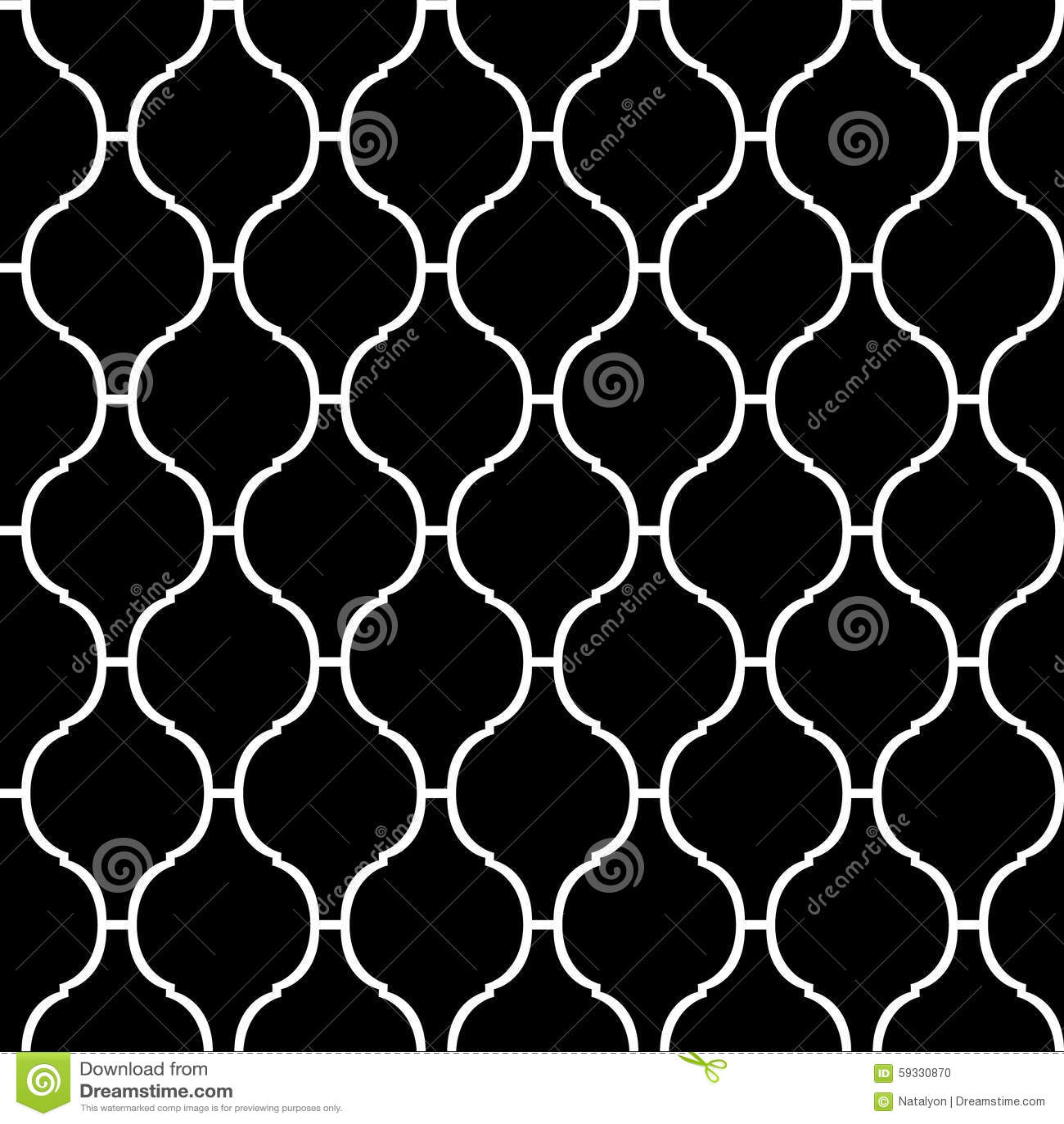 Czarny i biały arabskiego tradycyjnego quatrefoil bezszwowy wzór, wektor