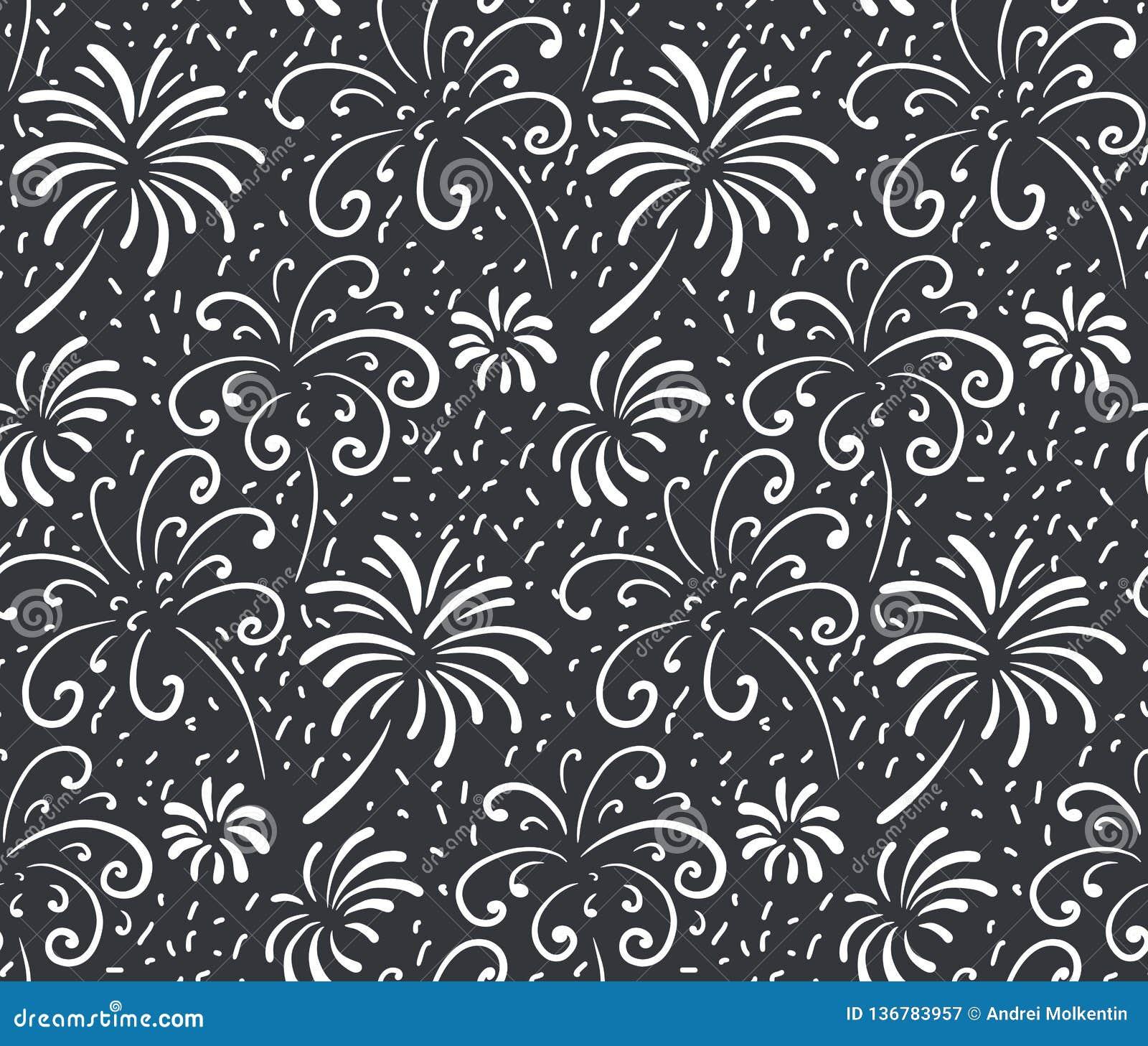 Czarny i biały bezszwowy wzór z ręka rysującymi fajerwerkami Monochromatyczny wakacyjny wektorowy niekończący się tło