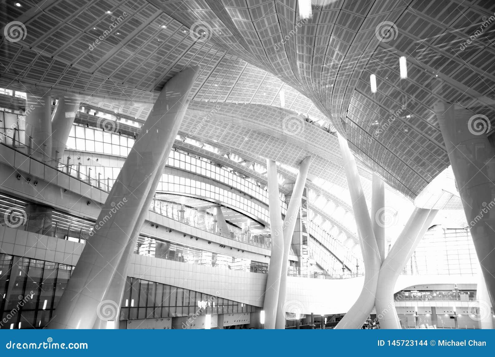 Czarny i biały fotografia, budynek, Hong Kong prędkości Wysokiego poręcza Kowloon Zachodni Terminus