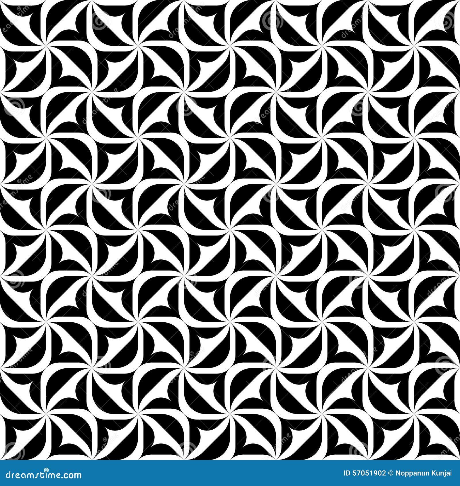 Czarny i biały geometryczny bezszwowy wzór, abstrakcjonistyczny tło