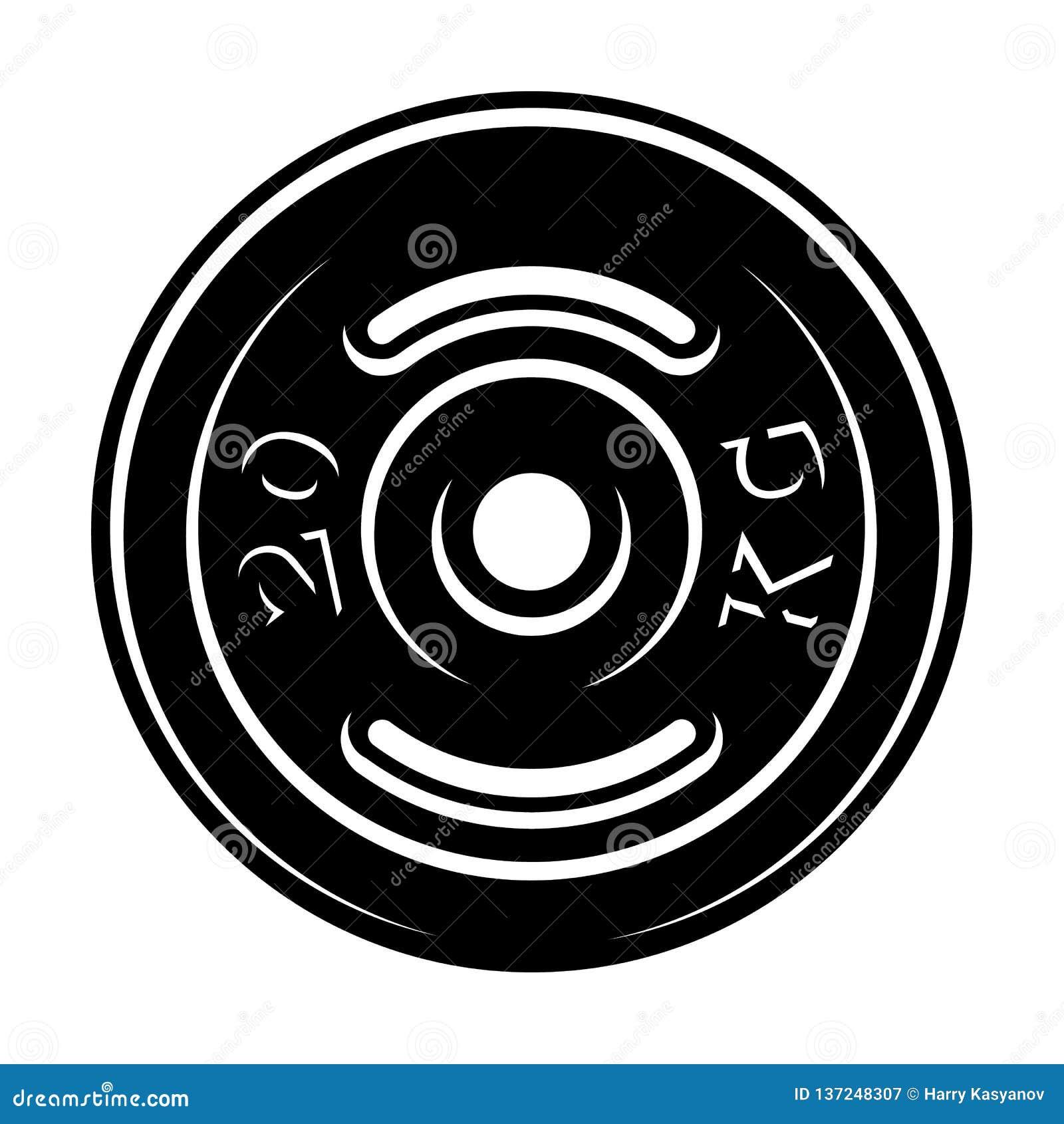 Czarny i biały ilustracja barbell dysk