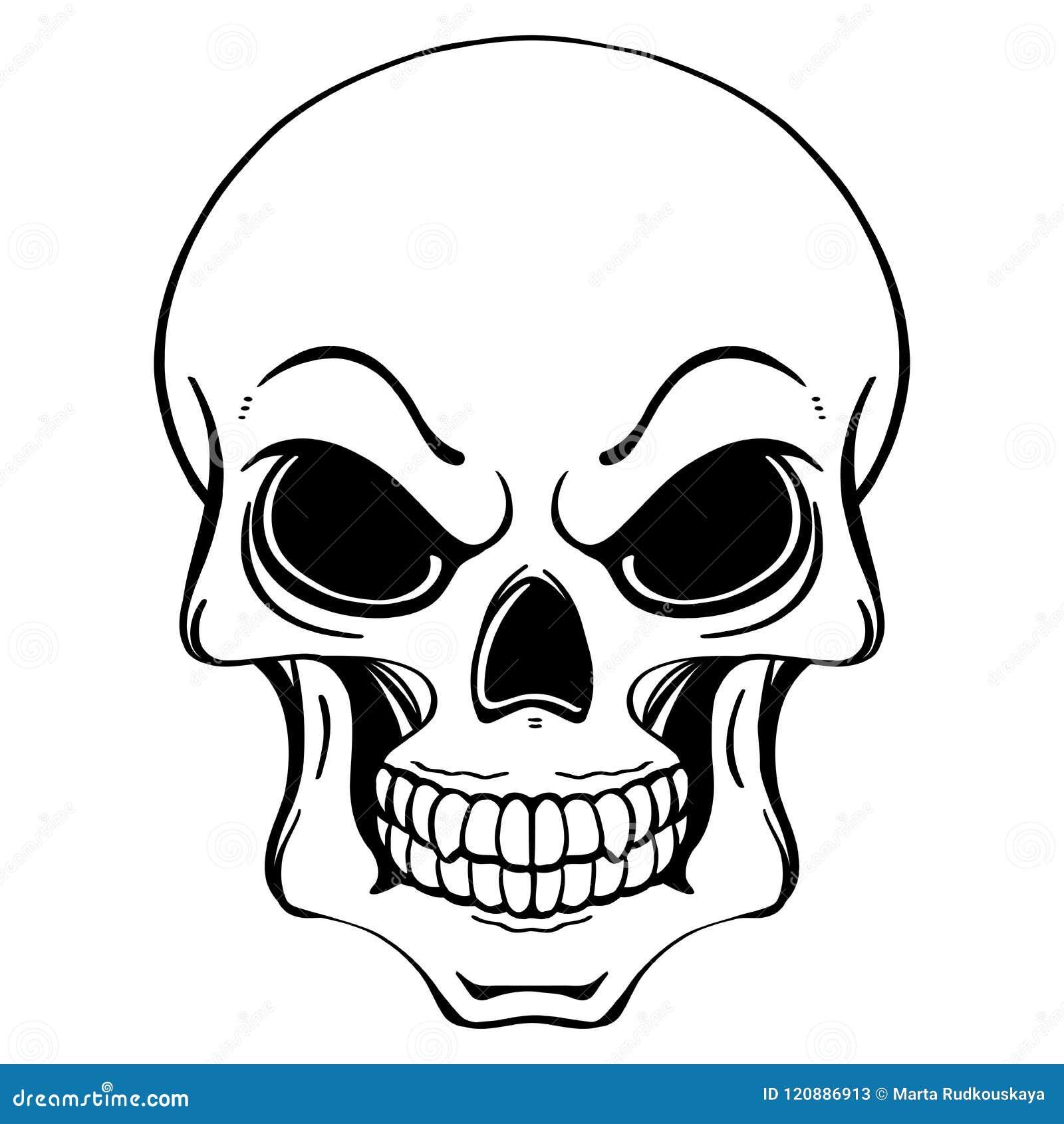 Czarny i biały ilustracja ludzka czaszka w atramentu ręka rysującym stylu