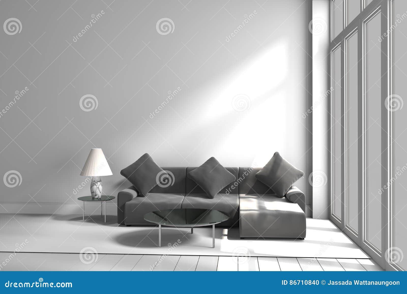 Czarny i biały kolor kanapy lampy stół, 3D rendering