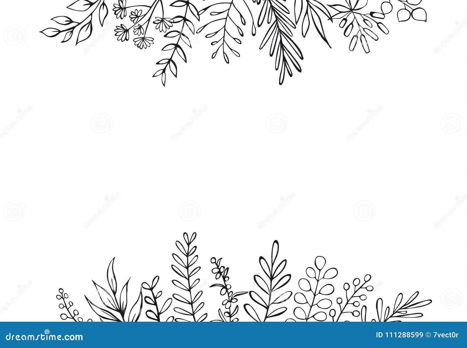 Czarny i biały kwiecista ręka rysujący domu wiejskiego styl zarysowywający kapuje gałąź chodnikowa granicy tło