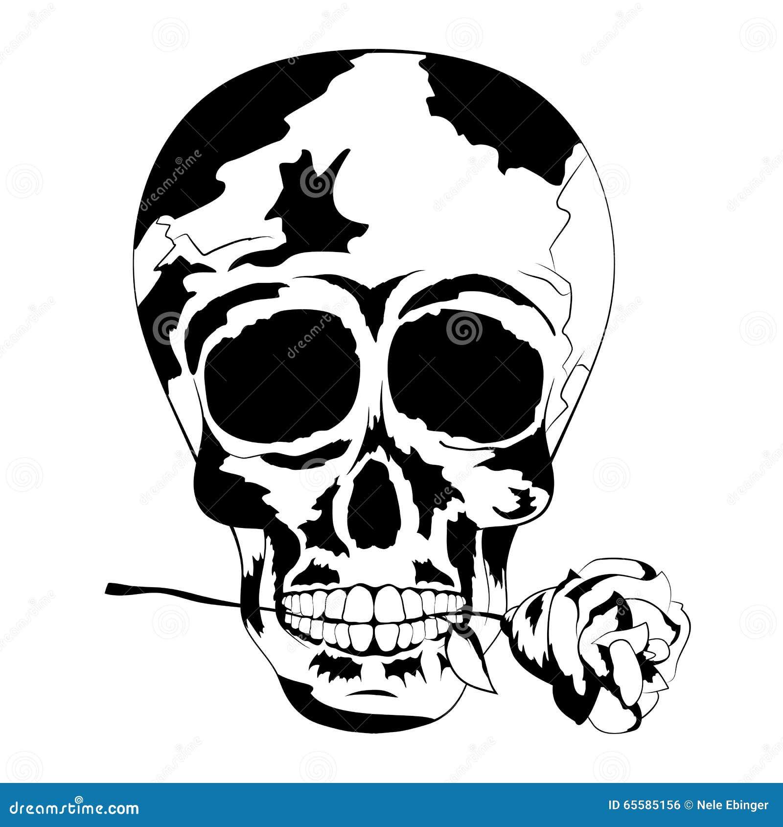 Czarny I Biały Ludzka Czaszka Z Wzrastał W Usta Tatuaż Czaszka