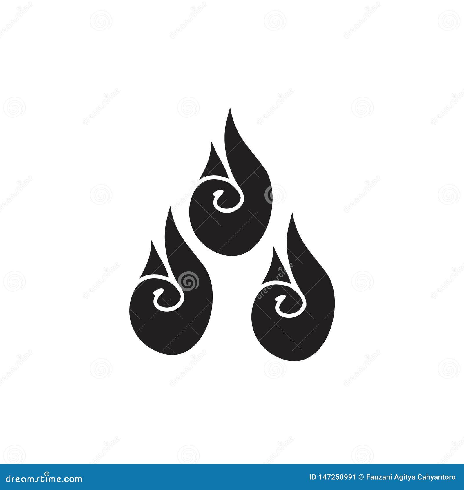 Czarny i biały płomienia symbol