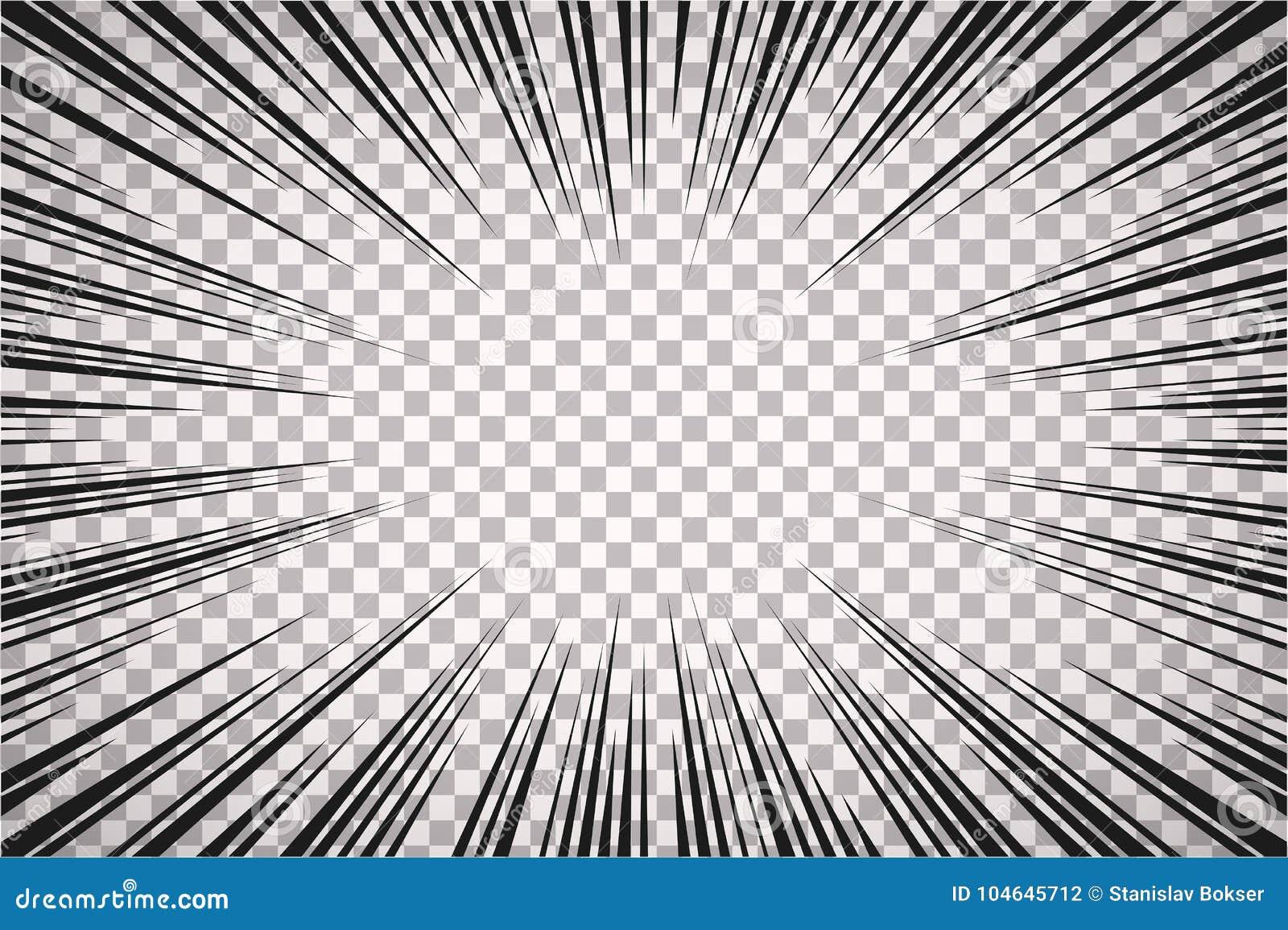 Czarny i biały promieniowy komiczka styl wykłada na przejrzystym tle Manga akcja, prędkość abstrakt