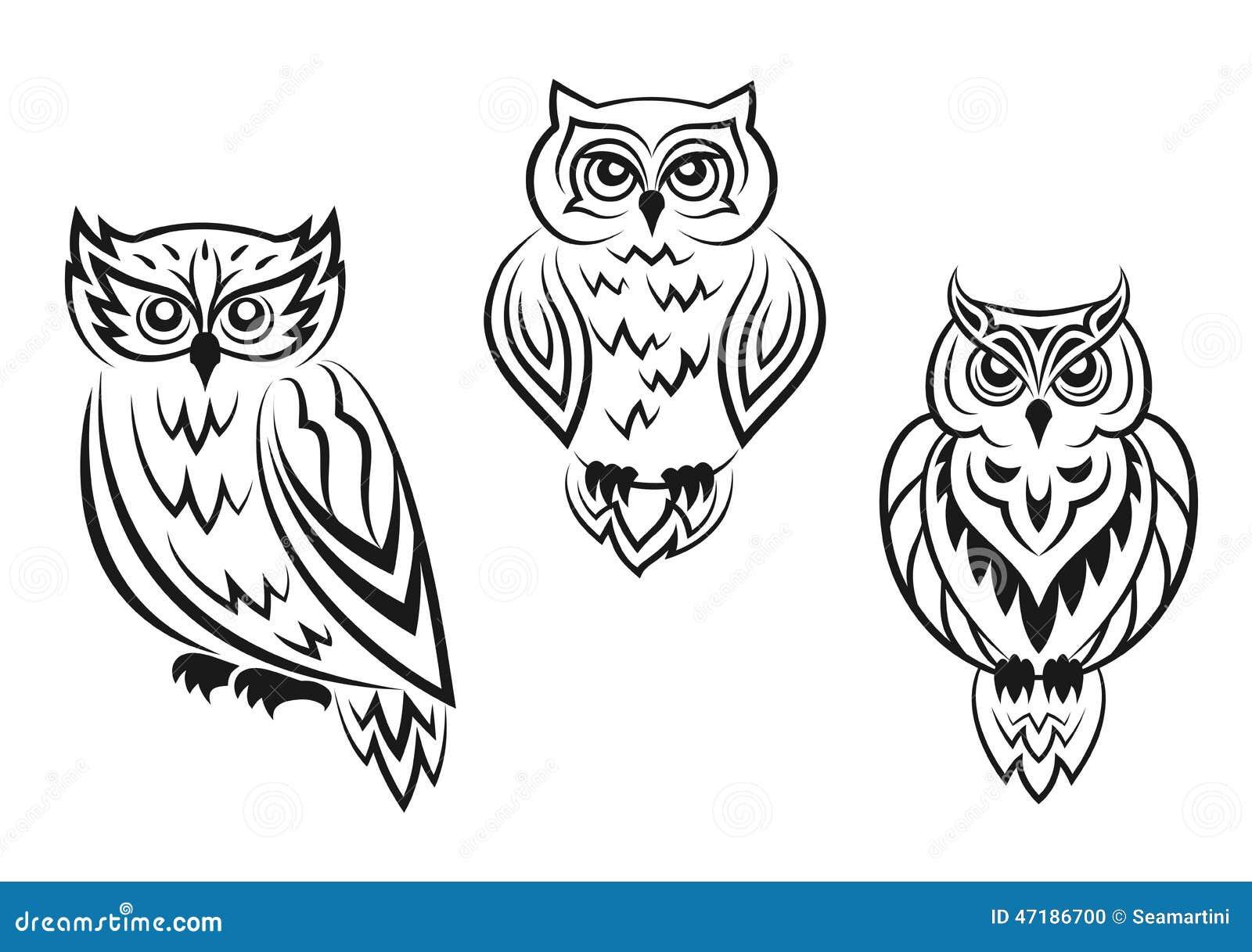 Czarny I Biały Sowa Ptaka Tatuaże Ilustracja Wektor