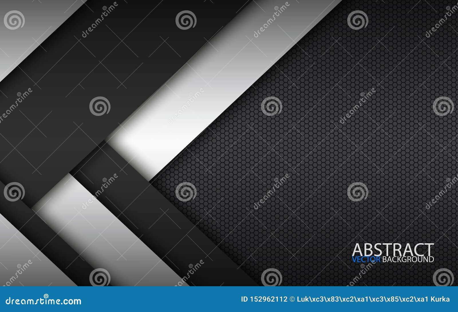 Czarny i biały warstwy nad each inny, nowożytny materialny projekt z heksagonalnym wzorem, korporacyjny szablon