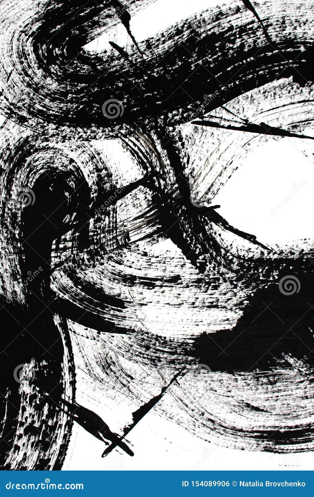 Czarny i bia?y sztuka sztuki abstrakcjonistycznej t?o Akrylowy obraz na kanwie Kolor tekstura Czerep grafika brushstrokes