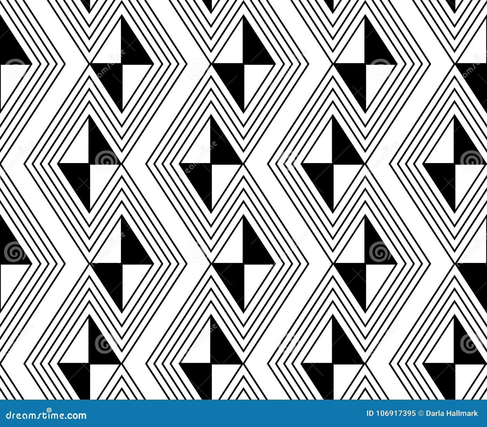 Czarny i biały zygzakowata tapeta