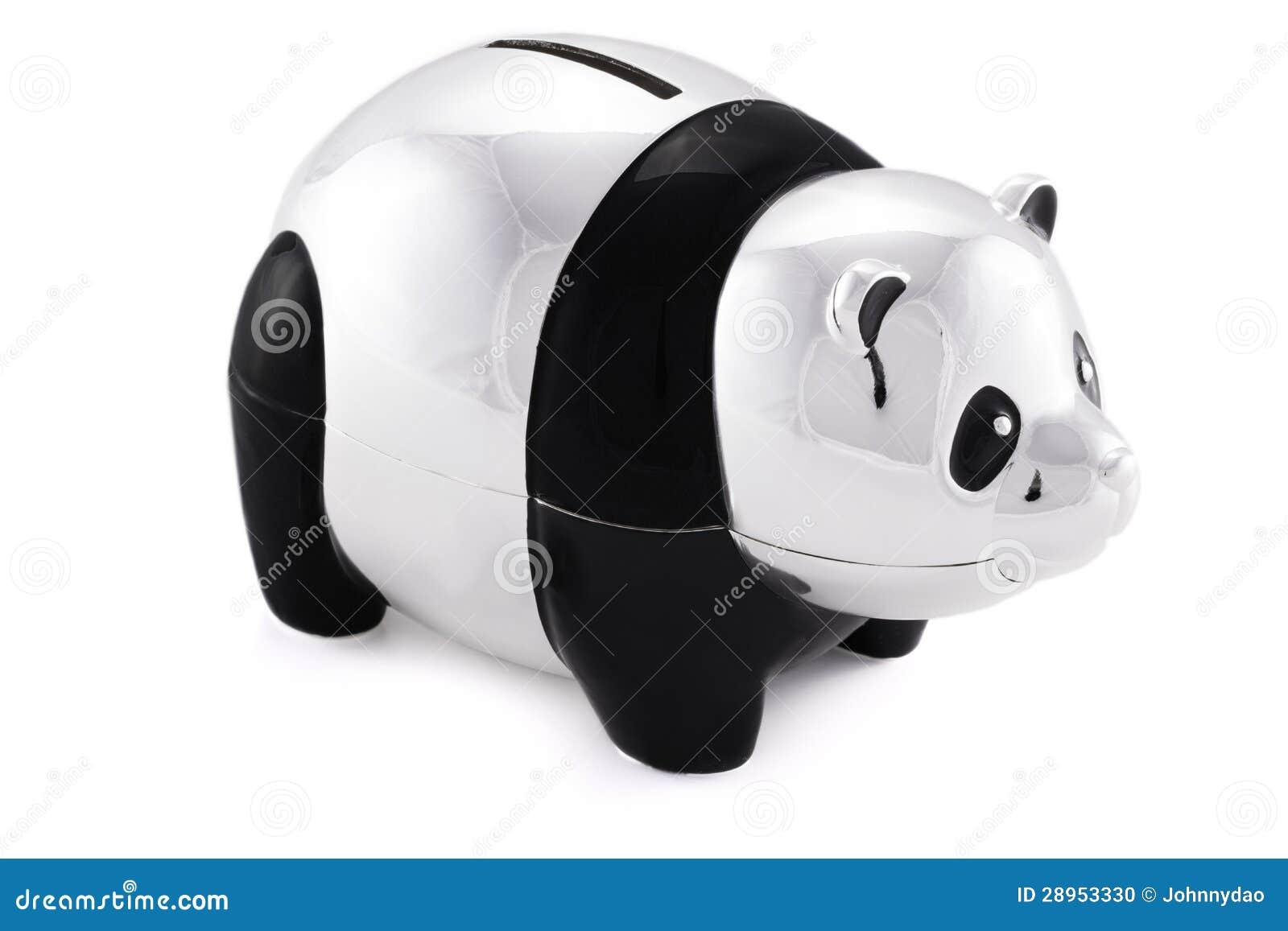 Czarny i srebny pandy oszczędzania bank