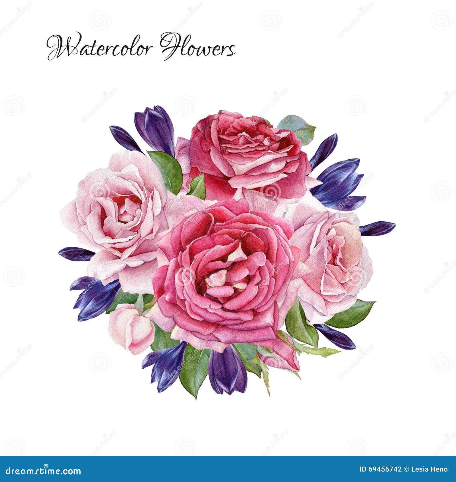 Czarny karta barwił kwiecistego kwiatu irysa biel Bukiet akwarela krokusy i róże
