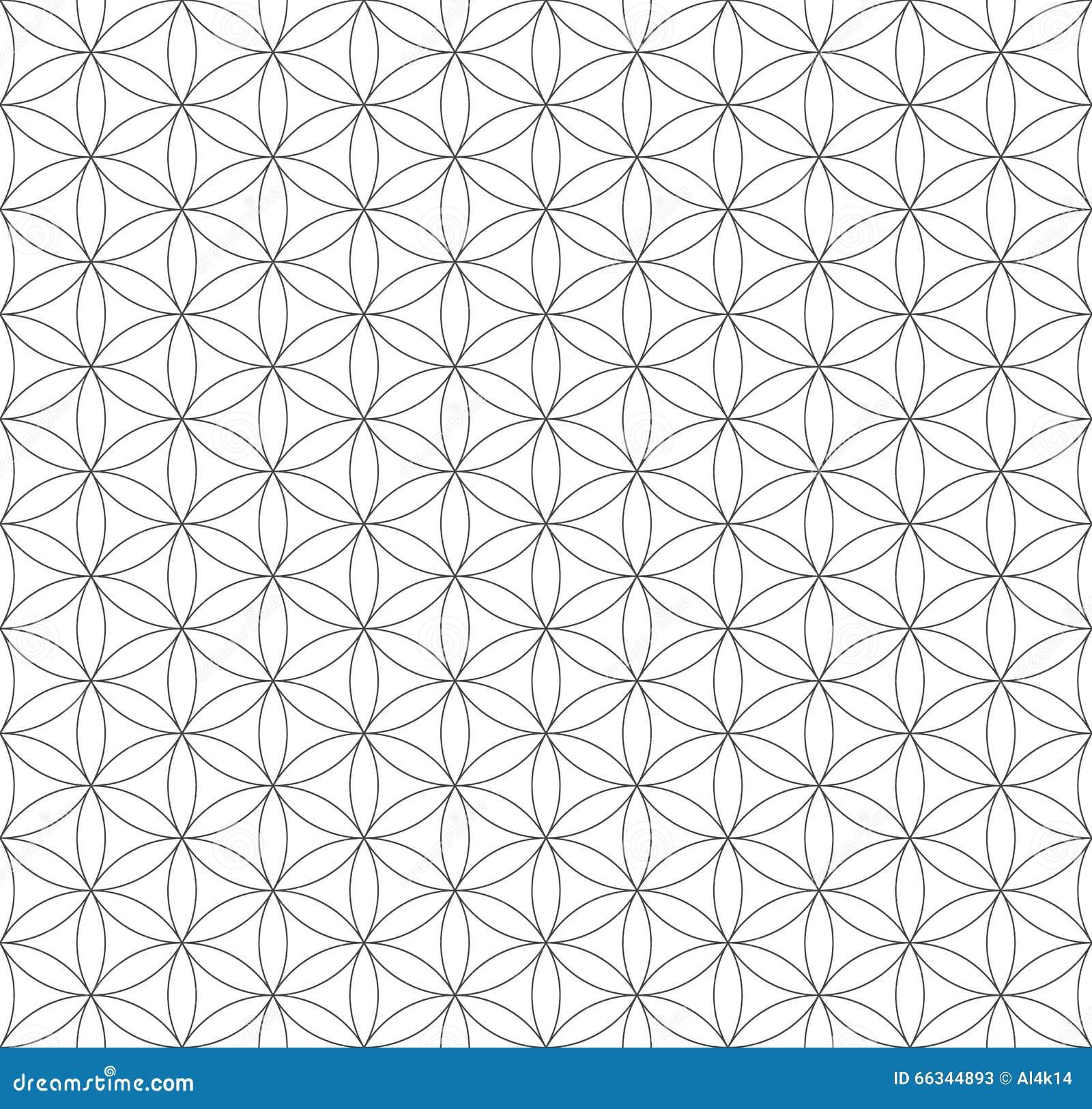 Czarny konturu kwiat życie geometrii święty wzór