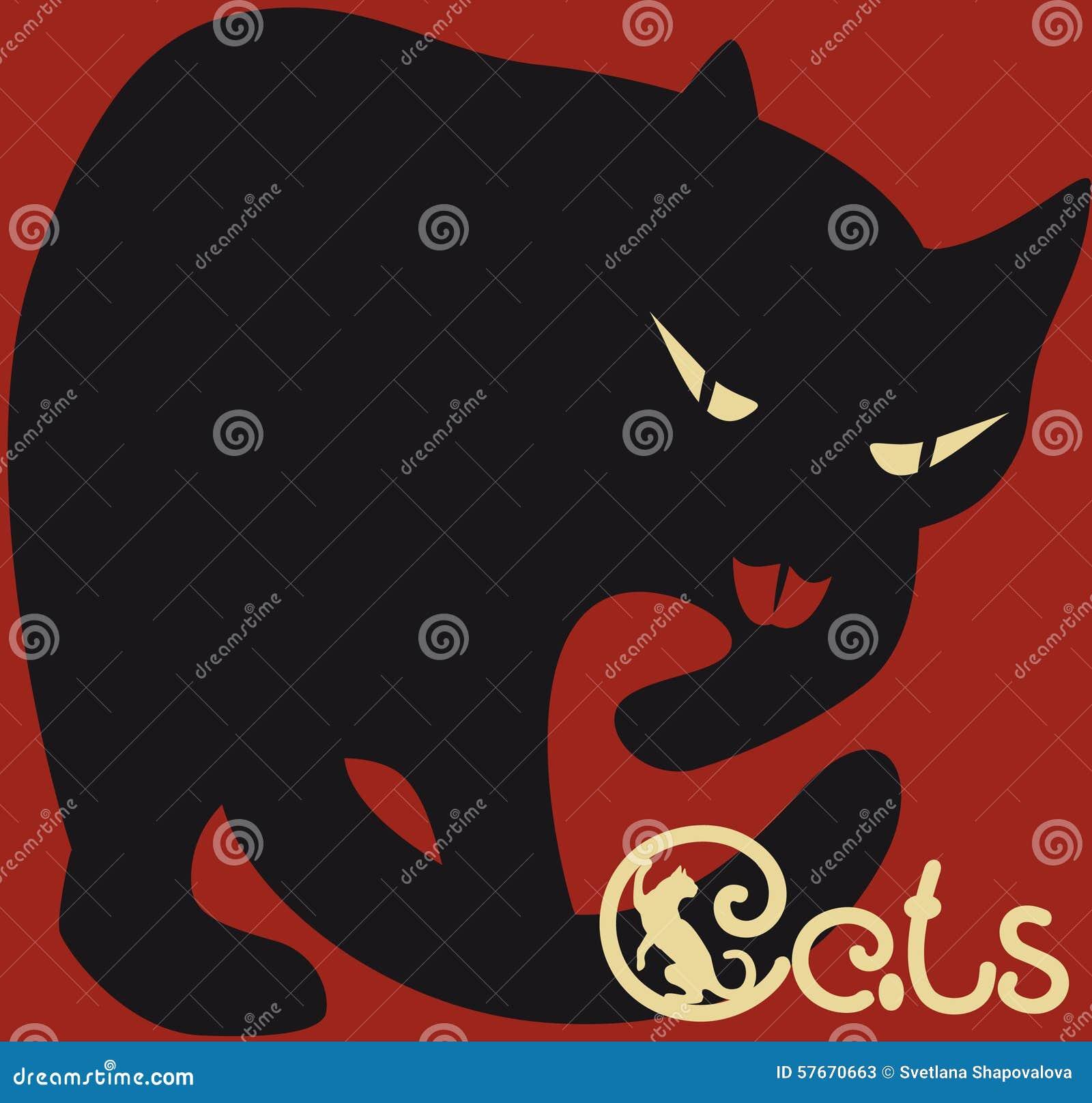 Czarny kot na zmroku - czerwony tło