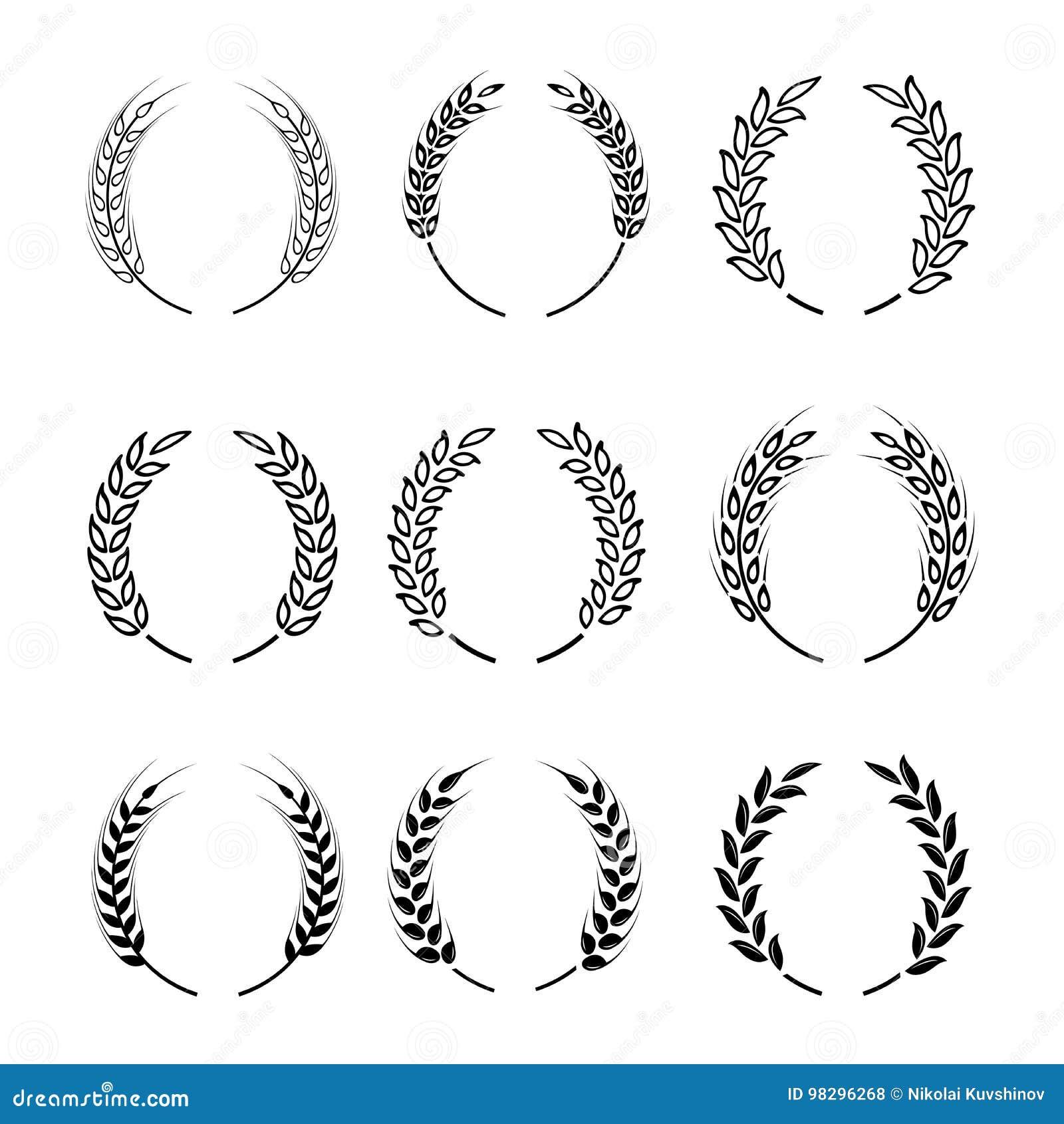 Czarny laurowy wianek - symbol zwycięzca Pszeniczni ucho lub ryżowe ikony ustawiający