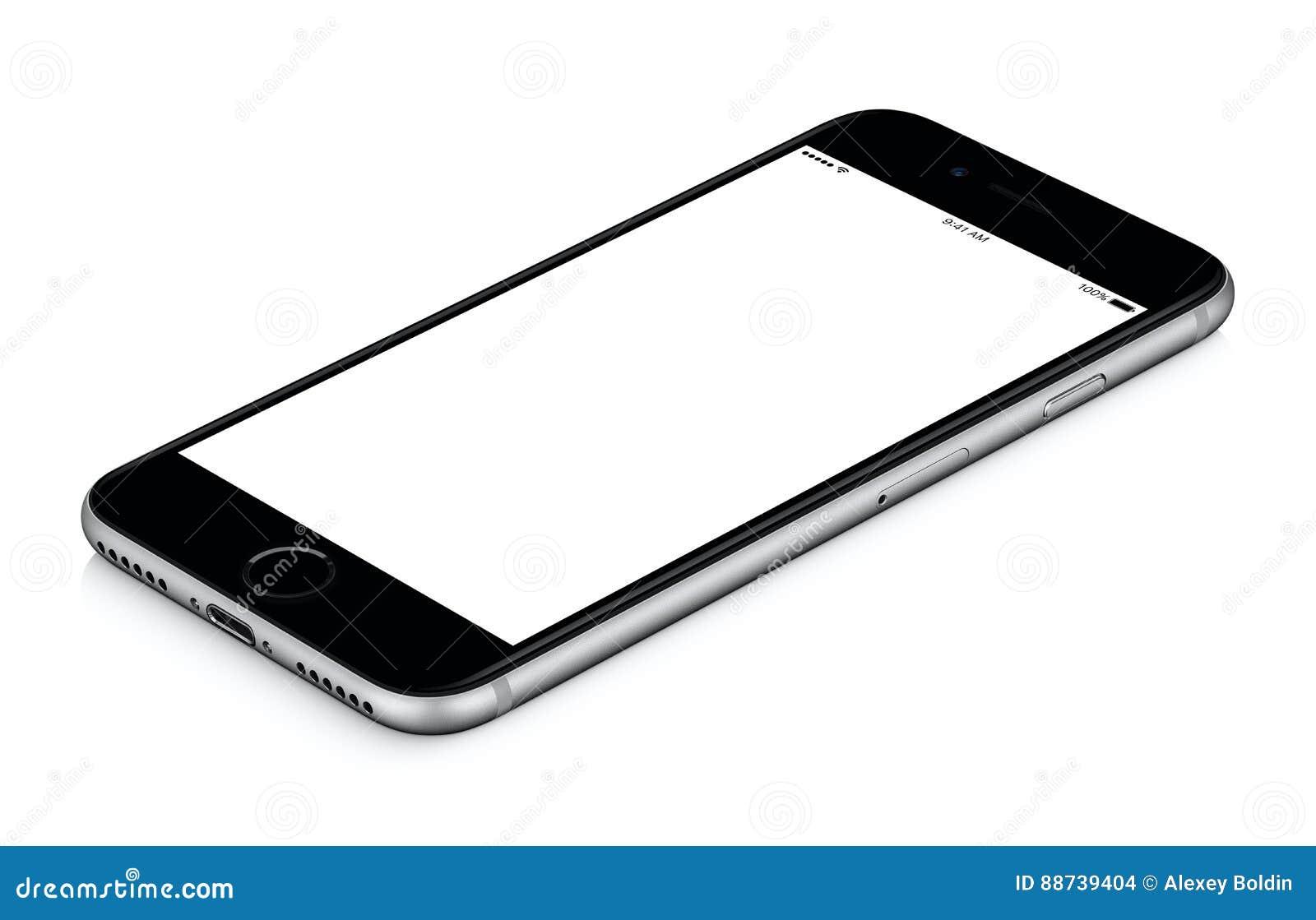 Czarny mądrze telefonu mockup CW wirujący kłama na powierzchni