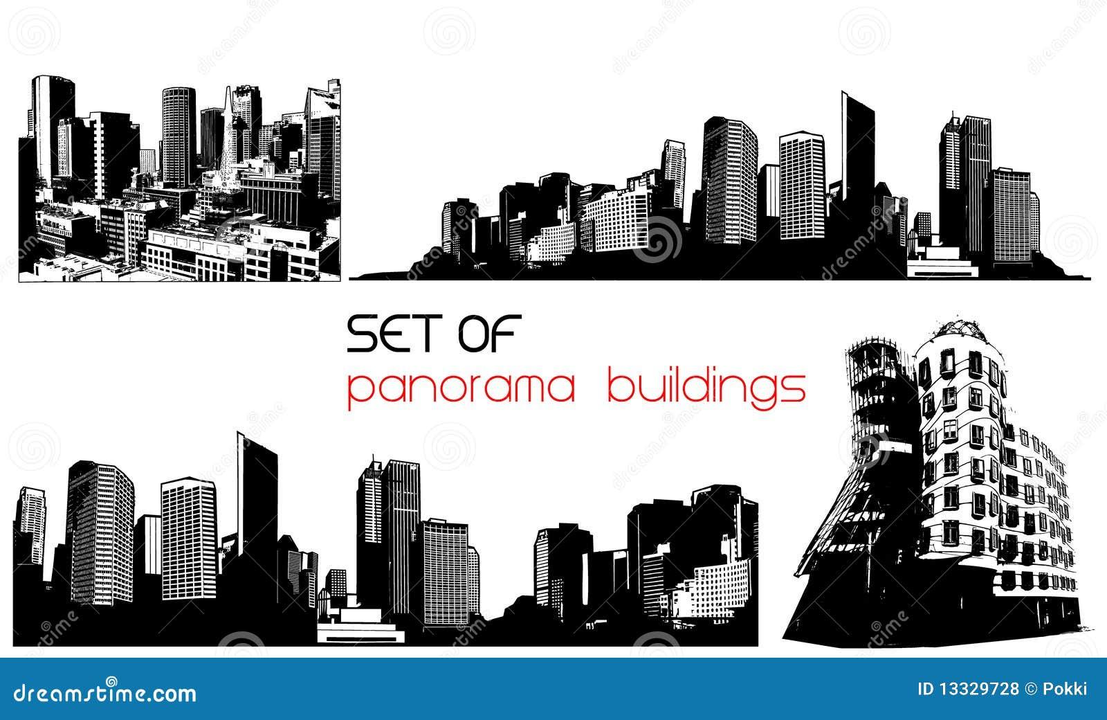 Czarny miast panoramy biel