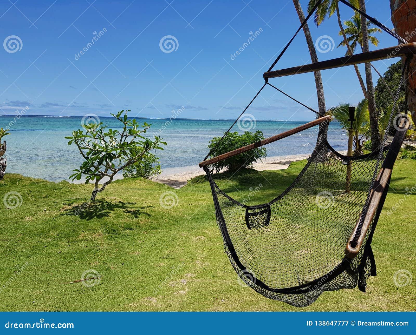 Czarny netto relaksujący huśtawkowy krzesło na zielonej trawie obok białej piasek plaży z kryształem - jasne wody i drzewka palmo