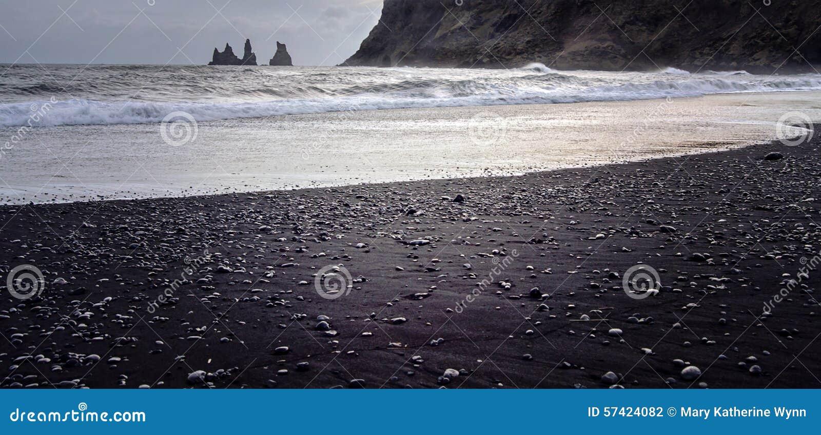 Czarny plażowy Islandii