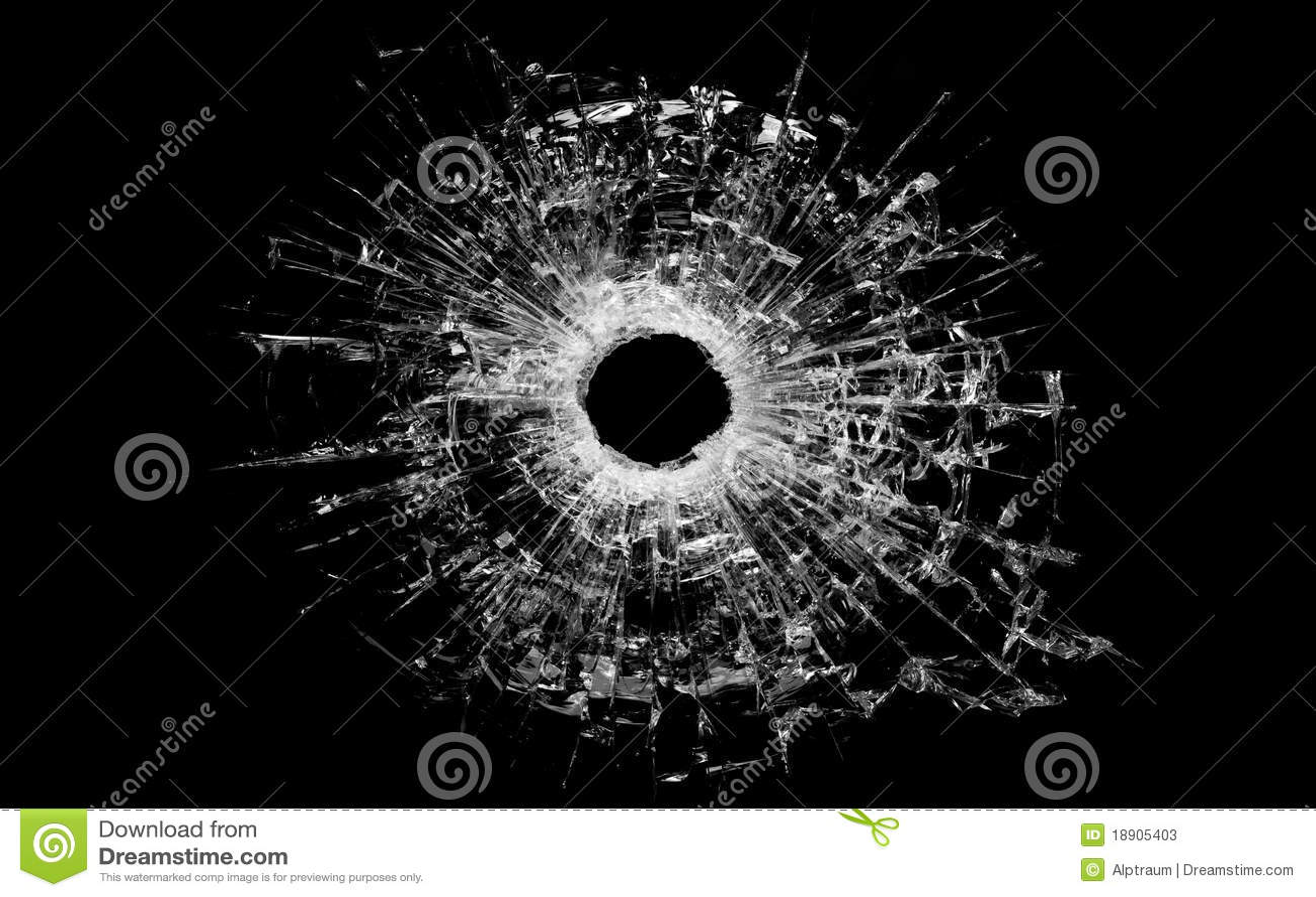 Czarny pociska szklana dziura odizolowywająca