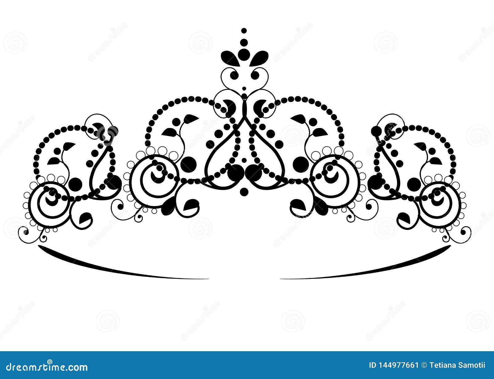 Czarny princess diadem na wight tle Korona r?wnie? zwr?ci? corel ilustracji wektora