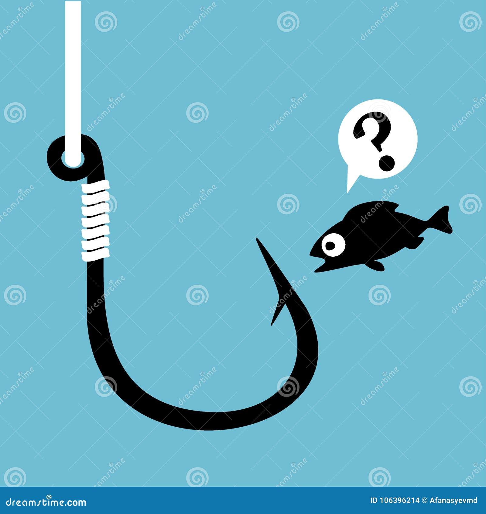 Czarny rybi haczyk z połów linią na błękicie Śmieszna przelękła kreskówki ryba patrzeje haczyka Pojęcie zamieszanie Zamknięty Dan