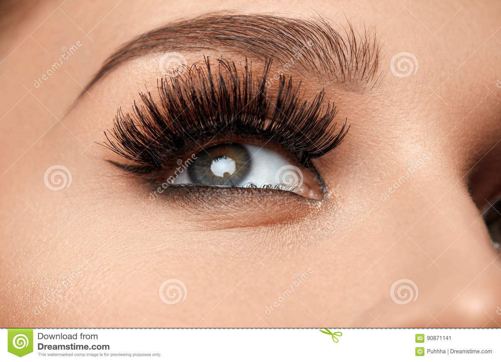 Czarny rzęsy tęsk Zbliżenia Piękny Żeński oko Z Makeup